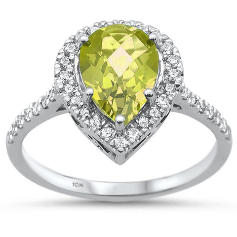 1.4ct 10k White Gold Pear Shape Lemon Topaz & Diamond Ring size 6.5