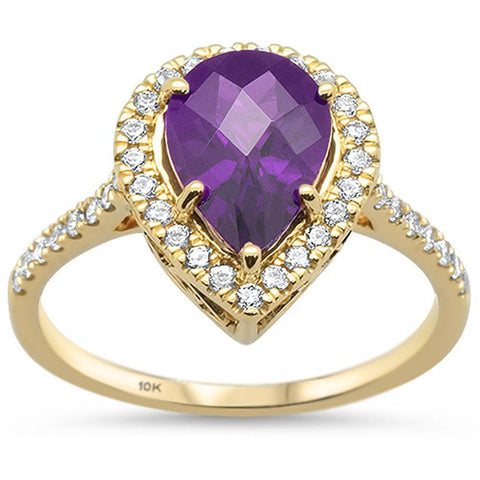 1.80ct 10k Yellow Gold Pear Amethyst & Diamond Ring Size 6.5