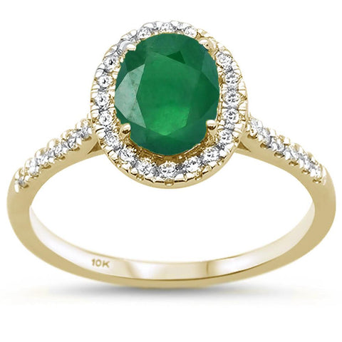 1.47ct 10k Yellow Gold Oval Green Emerald & Diamond Ring size 6.5