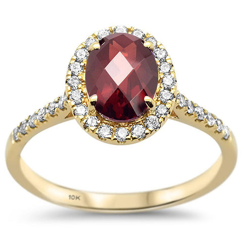 1.74ct 10k Yellow Gold Oval Garnet & Diamond Ring Size 6.5