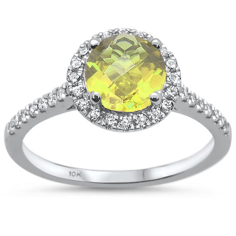 1.31ct 10k White Gold Round Lemon Topaz & Diamond Ring Size 6.5