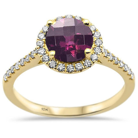 1.74ct 10k Yellow Gold Round Rhodolite & Diamond Ring Size 6.5