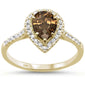 1.25ct 10k Yellow Gold Pear Smoky Topaz & Diamond Ring Size 6.5