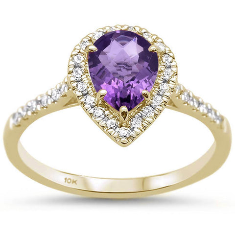 0.95ct 10k Yellow Gold Pear Amethyst & Diamond Ring Size 6.5