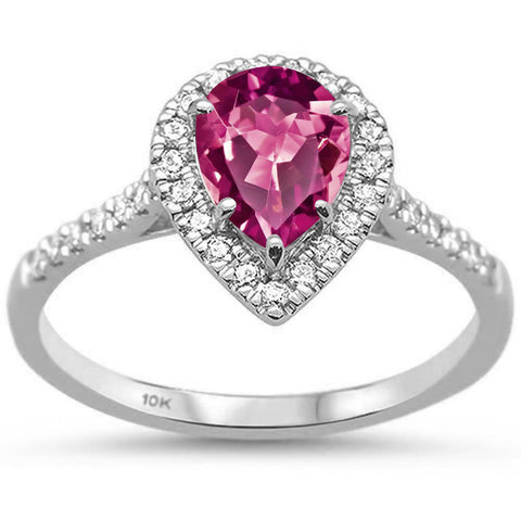 .91ct 10k White Gold Pear Pink Tourmaline & Diamond Ring Size 6.5