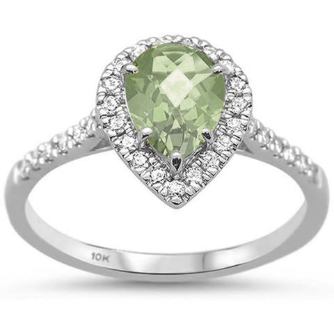 .99ct 10K White Gold Green Amethyst & Diamond Ring Size 6.5