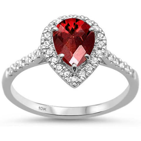 1.11ct 10K White Gold Garnet & Diamond Ring Size 6.5