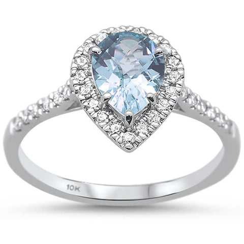 1.02ct 10k White Gold Pear Aquamarine & Diamond Ring Size 6.5