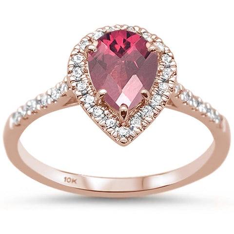 1.36ct 10k Rose Gold Pear Rhodolite & Diamond Ring Size 6.5