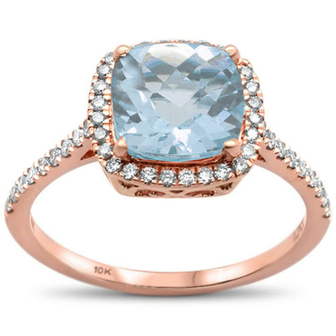 1.98ct 10K Rose Gold Cushion Aquamarine & Diamond Ring Size 6.5
