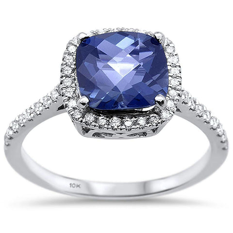 1.77ct 10K White Gold Cushion Tanzanite & Diamond Ring Size 6.5