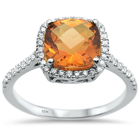 2.35ct 10K White Gold Cushion Citrine & Diamond Ring Size 6.5