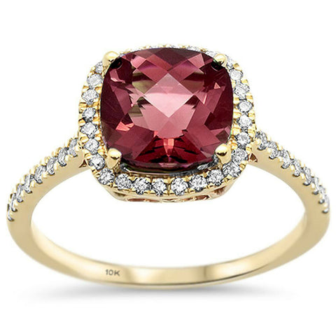 2.81ct 10K Yellow Gold Cushion Garnet & Diamond Ring Size 6.5