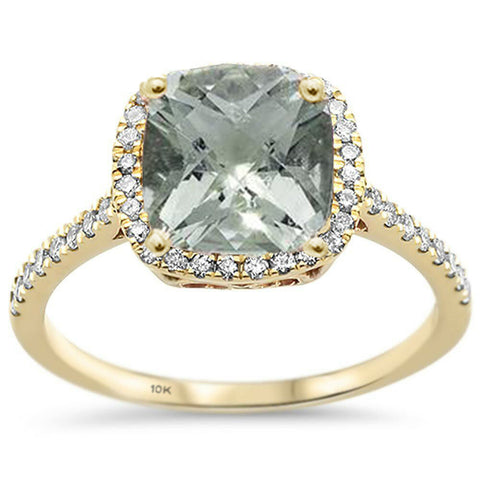 2.06ct 10K Yellow Gold Natural Green Amethyst & Diamond Ring Size 6.5