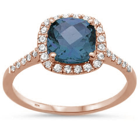 1.80ct 10K Rose Gold Cushion Blue Topaz & Diamond Ring Size 6.5