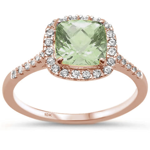 1.63ct 10K Rose Gold Cushion Green Amethyst & Diamond Ring Size 6.5