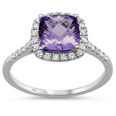 1.48ct 10K White Gold Cushion Amethyst & Diamond Ring Size 6.5