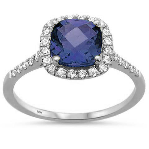 2.07ct 10K White Gold Cushion Tanzanite & Diamond Ring Size 6.5