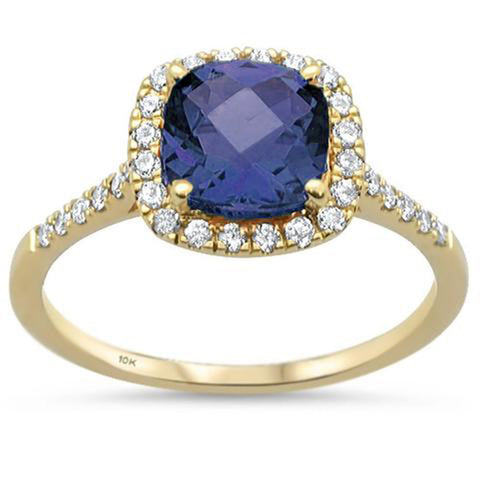 2.04ct 10K Yellow Gold Cushion Tanzanite & Diamond Ring Size 6.5