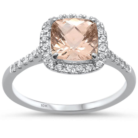 1.60cts 10k White Gold Cushion Morganite & Diamond Ring Size 6.5