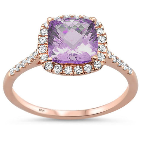 1.55ct 10k Rose Gold Pink Amethyst & Diamond Ring Size 6.5