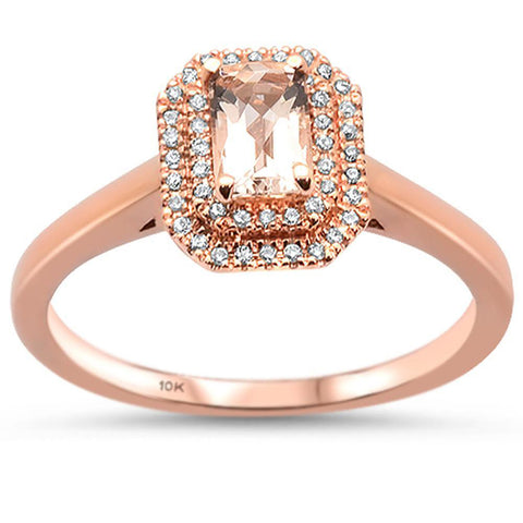 0.63cts 10k Rose Gold Emerald Cut Morganite & Diamond Ring Size 6.5