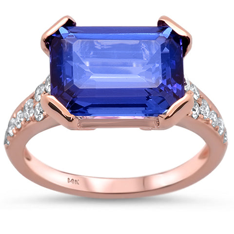 5.75cts 14k Rose Gold Emerald Cut Tanzanite & Diamond Ring Size 6.5