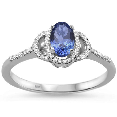 .71cts 10k White Gold Oval Tanzanite & Diamond Ring Size 6.5