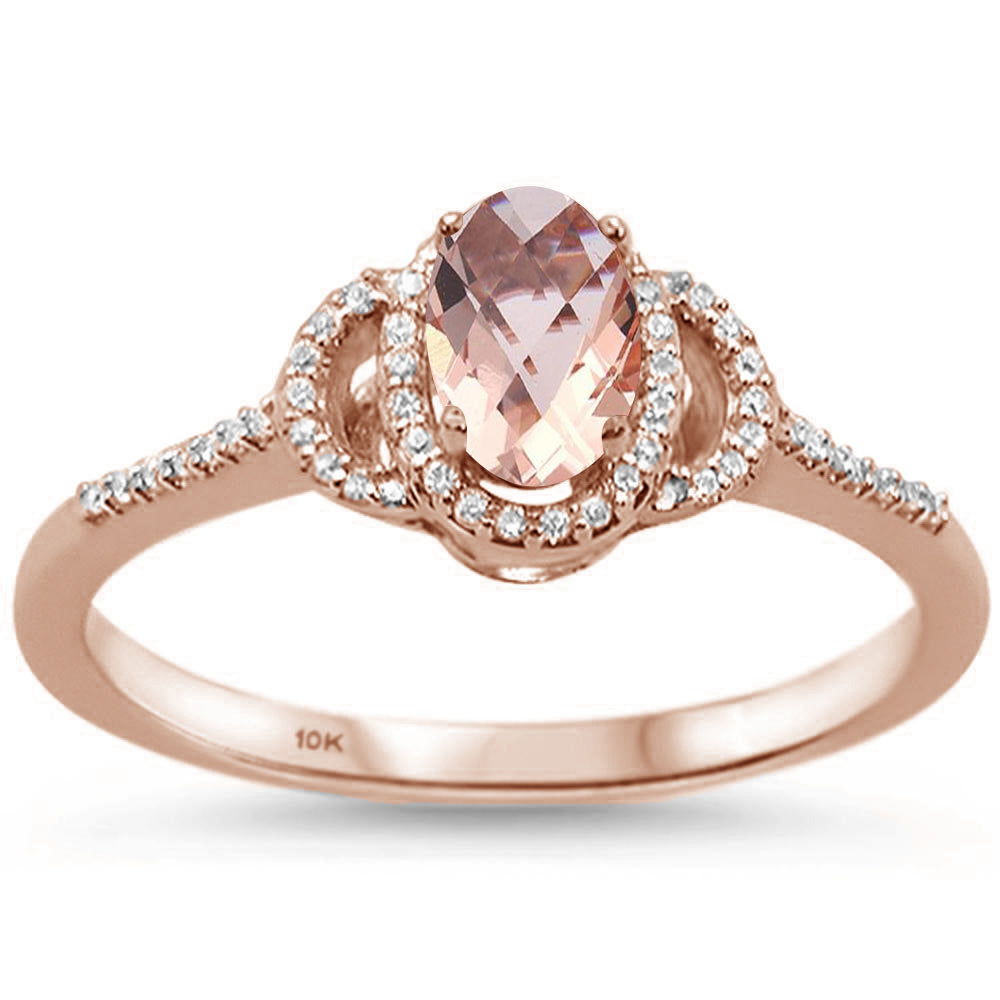 .56ct F SI Oval Morganite 10k Rose Gold Diamond Ring Size 6.5