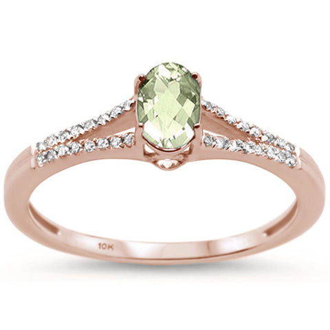 .46cts 10k Rose Gold Oval Green Amethyst & Diamond Ring Size 6.5