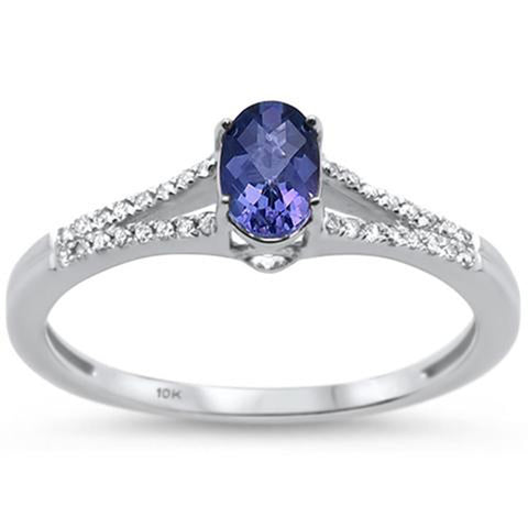 .71ct 10K White Gold Oval Tanzanite & Diamond Ring Size 6.5