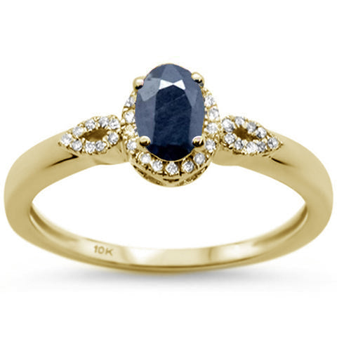 .89ct 10K Yellow Gold Oval Blue Sapphire & Diamond Ring Size 6.5
