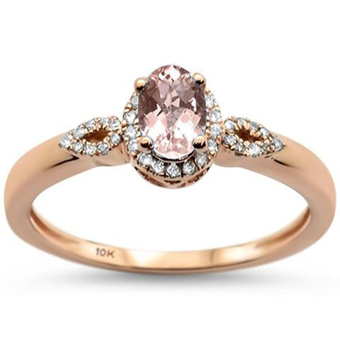 .55ct 10K Rose Gold Oval Morganite & Diamond Ring Size 6.5