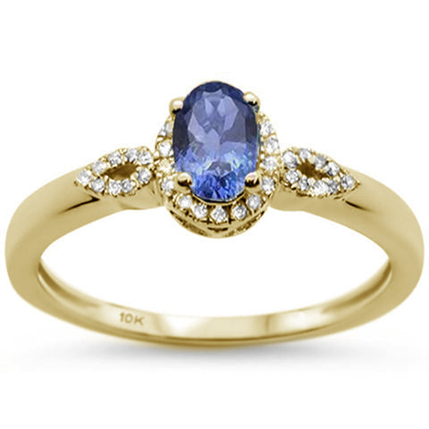 .81ct 10K Yellow Gold Oval Tanzanite & Diamond Ring Size 6.5