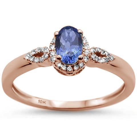 .81ct 10K Rose Gold Oval Tanzanite & Diamond Ring Size 6.5