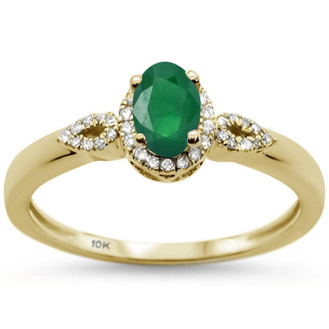 .66ct 10k Yellow Gold Oval Emerald & Diamond Ring Size 6.5
