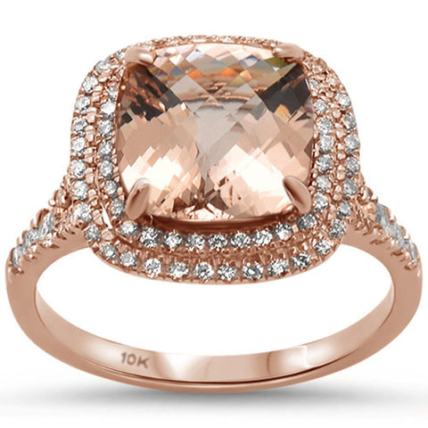 2.98ct 10k Rose Gold Cushion Morganite & Diamond Ring