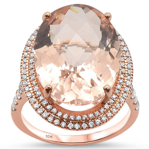 10.64ct 10k Rose Gold Oval Morganite  & Diamond Ring