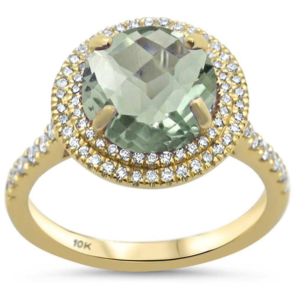 2.83ct Round Green Amethyst 10k Yellow Gold Diamond Ring Size 6.5