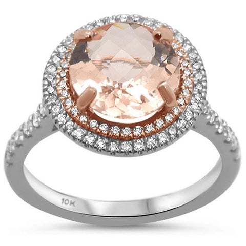 2.59ct 10k Two Tone Gold Round Morganite & Diamond Ring