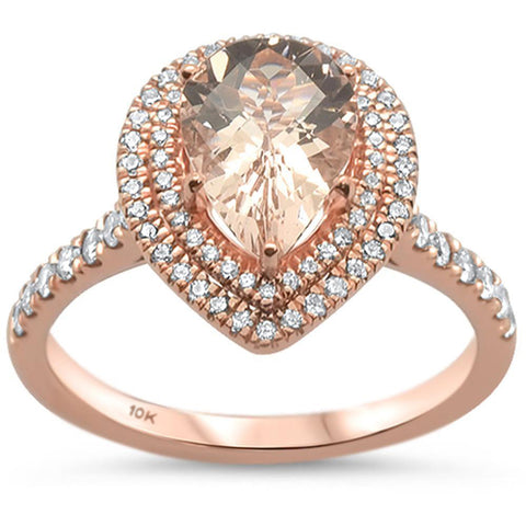 1.76ct 10k Rose Gold Pear Shape Morganite & Diamond Ring