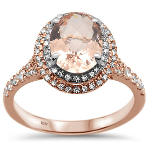 1.99ct 10k Two Tone Gold Oval Morganite & Diamond Ring