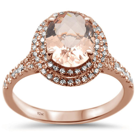 2.1ct 10k Rose Gold Oval Morganite & Diamond Ring