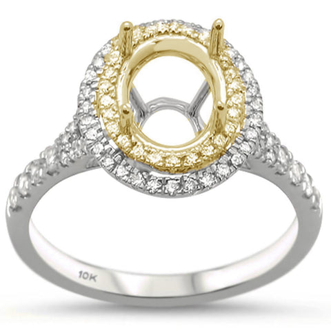.38cts 10k Two Tone Gold & Diamond Semi-Mount Ring