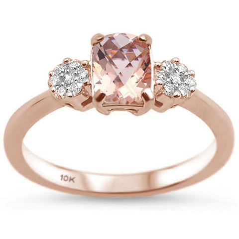 1.06ct 10k Rose Gold Cushion Morganite & Diamond Ring