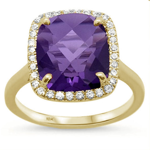 5.54ct Cushion Cut Amethyst 10k Yellow Gold Diamond Ring Size 6.5