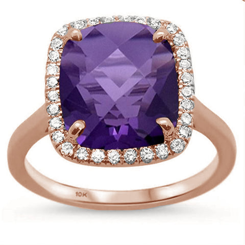 5.54ct Cushion Cut Amethyst 10k Rose Gold Diamond Ring Size 6.5