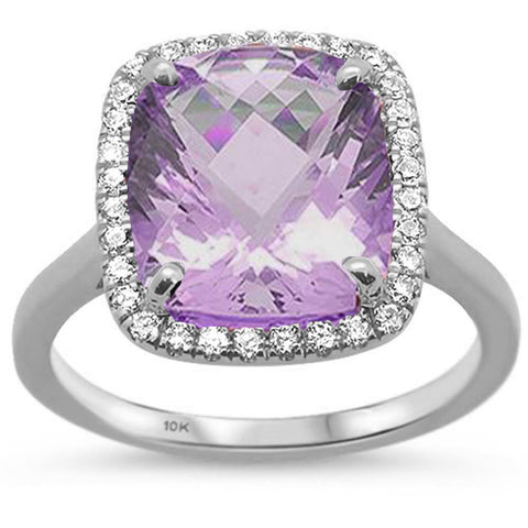 5.09ct Cushion Cut Pink Amethyst 10k White Gold Diamond Ring Size 6.5