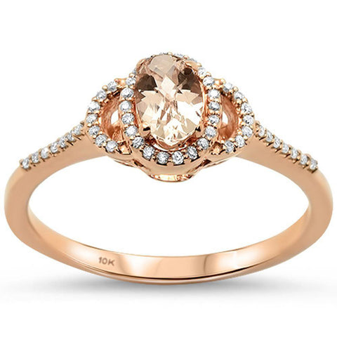 0.49cts 10k Rose Gold Oval Morganite  & Diamond Ring Size 6.5