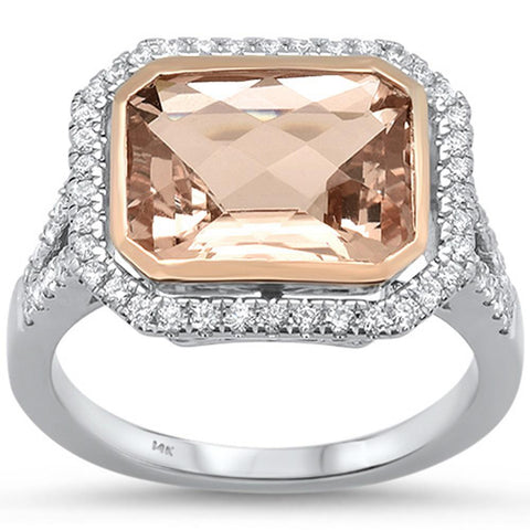 4.19cts 14k White Gold Emerald Cut Morganite  & Diamond Ring Size 6.5